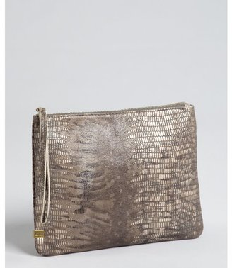 Kooba natural snake embossed leather zip cosmetic pouch with wristlet