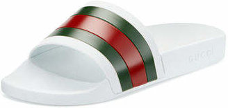 Gucci Pursuit '72 Rubber Slide Sandal, White $190 thestylecure.com