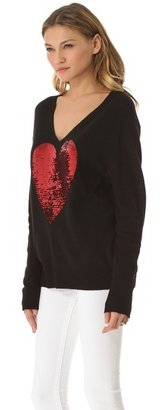 Wildfox Couture Sequin Heart Sweater