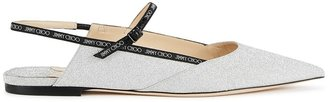 Jimmy Choo Ree Silver Glittered Leather Pumps