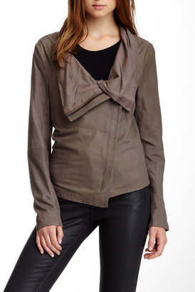 Muubaa Sinoia Genuine Suede Funnel Neck Jacket $475 thestylecure.com