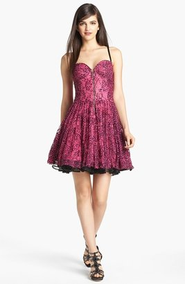 Betsey Johnson Print Mesh Lace Fit & Flare Dress
