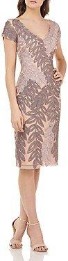 JS Collections Soutache Leaf Sheath Dress