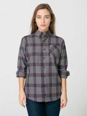 American Apparel Unisex Plaid Flannel Long Sleeve Button-Up with Pocket