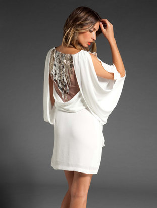 BCBGMAXAZRIA Runway Draped Slit Sleeve Dress with Beaded Back
