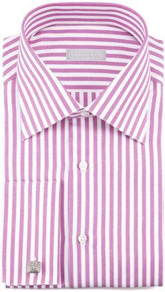 Stefano Ricci Awning Stripe Dress Shirt, Magenta/White