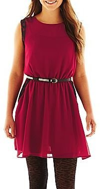 JCPenney HOLLYWOULD Sleeveless Belted Print Dress