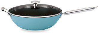"""Mario Batali by DanskTM """"Mario Light"""" 12-Inch Enameled Cast Iron Covered Stir Fry Pan in Turquoise"""