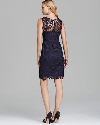 Adrianna Papell Sleeveless Illusion Neck Lace Dress