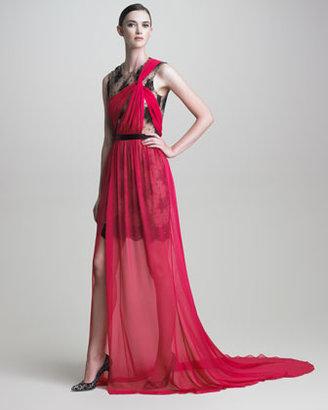 Jason Wu Lace-Underlay Draped Chiffon Gown