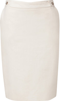Salvatore Ferragamo Ivory Linen and Cotton Blend Skirt