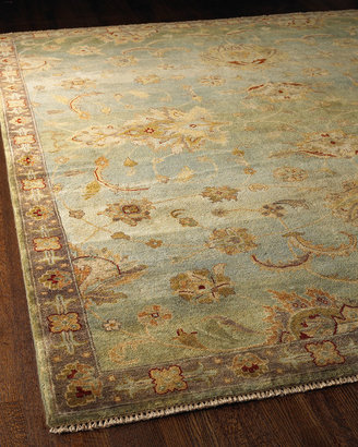 Horchow Blue Small Border Rug
