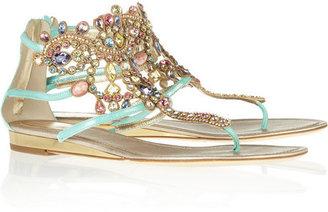 Rene Caovilla Swarovski crystal-embellished suede sandals