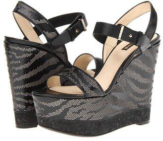 Roberto Cavalli Perforated Zebra Wedge (Black) - Footwear