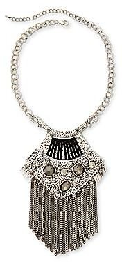 JCPenney Aris by Treska Silver-Tone Gray Bead Pendant & Chains Necklace