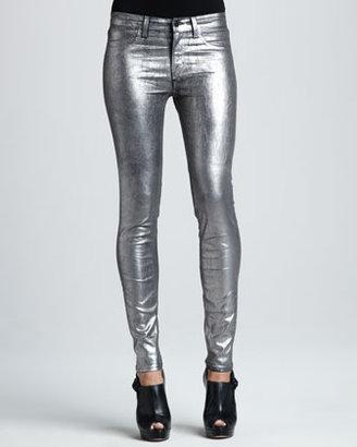 J Brand Jeans 801 Coated Metallic Silver Skinny Jeans