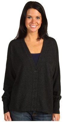 Michael Stars Cashmere Blend 12GG L/S V-Neck Cardigan (Charcoal) - Apparel