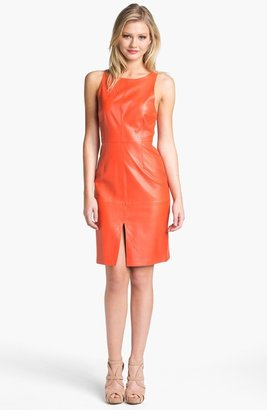 Susana Monaco Sleeveless Leather Sheath Dress