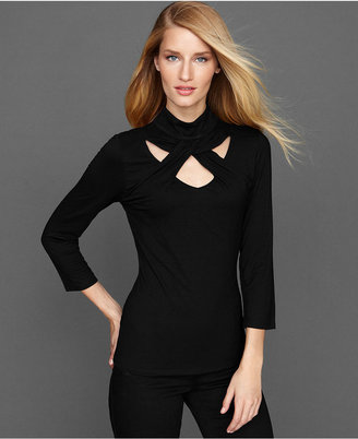 INC International Concepts Petite Top, Three-Quarter-Sleeve Twist Mock-Turtleneck