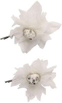 Jane Tran Bobby Ivory Chiffon Flower Pin Set (Ivory) - Accessories