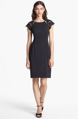 Alex Evenings Illusion Sleeve Sheath Dress (Regular & Petite) Black 12