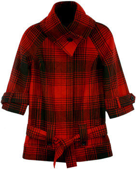 Fred Flare Red Plaid Funnel Neck Jacket