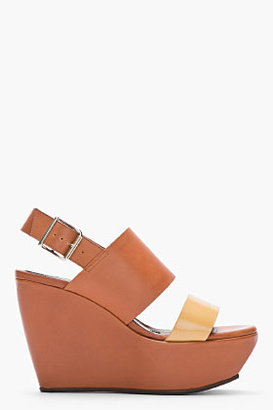 Marni Tan & Beige Leather Wedge Sandals