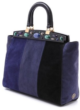 Tory Burch Suede Attersee Patchwork Colorblock Satchel