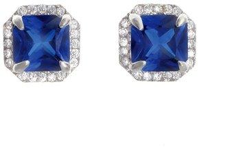 Crislu Square Pave Blue Cubic Zirconia Stud Earrings