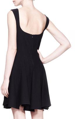 Alexander McQueen Square-Neck Full-Skirt Dress, Black