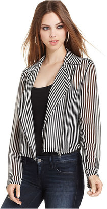 GUESS Jacket, Long-Sleeve Striped Semi-Sheer