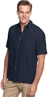Tasso Elba Island Big and Tall Short Sleeve Silk-Blend Shirt $65 thestylecure.com