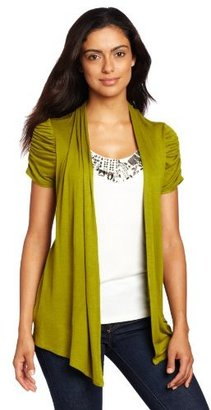 Amy Byer Women's Twofer Top With Rushed Sleeves and Beaded Inset