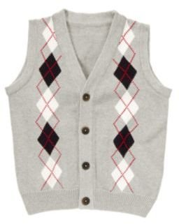 Crazy 8 Argyle Cardigan Sweater Vest