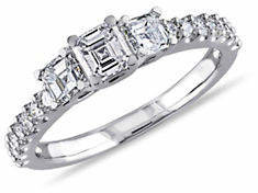 CONCERTO 14K White Gold Asscher-Cut 3-Stone 1 TCW Diamond Engagement Ring