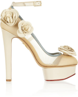 Charlotte Olympia - Flora Leather And Mesh Pumps - Ivory $1,200 thestylecure.com