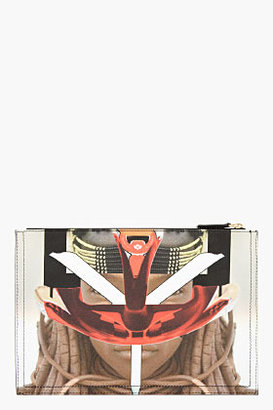 Givenchy Beige & Red Graphic Print Canvas Medium Pouch