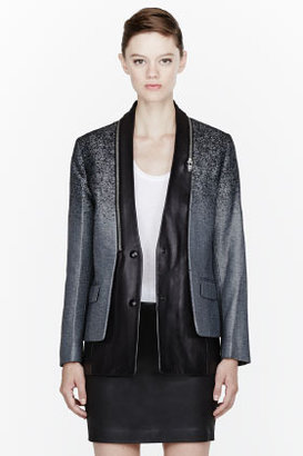 Alexander Wang Black leather zip-trimmed Layered Blazer