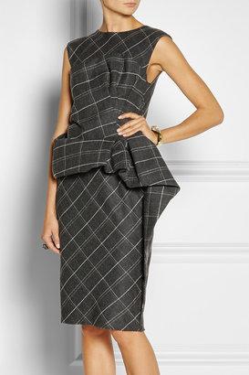 Lanvin Draped plaid wool-blend dress