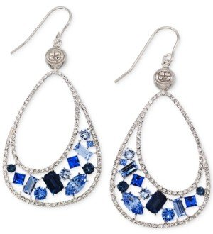 Simone I. Smith Blue and Clear Crystal Teardrop Earrings in Platinum over Sterling Silver