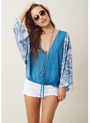 Blu Moon Blue Moon Kimono Criss Cross Top In Skye