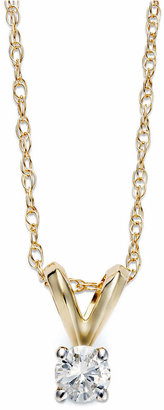 Macy's Diamond Accent Pendant Necklace in 10k Gold