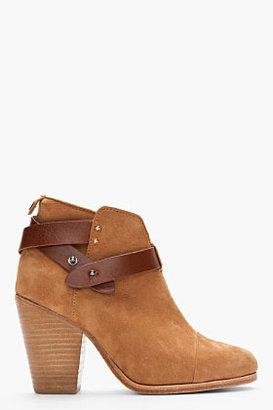 Rag and Bone RAG & BONE Tan Nubuck Leather-Strap Harrow Ankle Boots