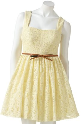 City Triangles cross back lace fit and flare dress - juniors