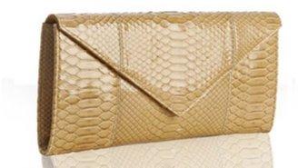 LAI beige python 'Lola' envelope clutch