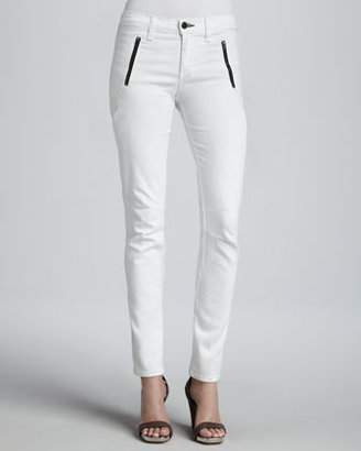 Rag and Bone Rally White Front-Zip Skinny Jeans