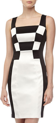 Jax Checkerboard Cocktail Dress, Ivory/Black