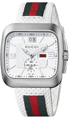 Gucci - Coupe 40mm Perforated Leather Strap Watch-YA131303 Watches $995 thestylecure.com