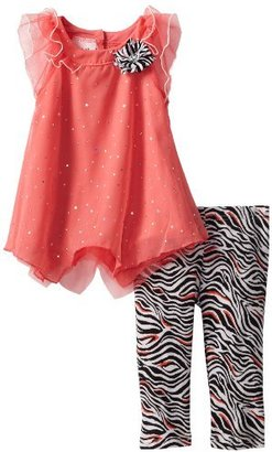Little Lass Girls 2-6X 2 Piece Capri Set with Disco Dot Chiffon
