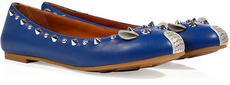 Marc by Marc Jacobs Blue Leather Studded Mouse Flats